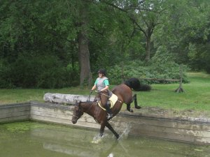 """Anna drops into water just before the """"mishap"""".  Note my excellent facial expression."""