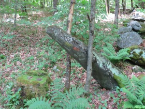 Old post marking the townline (TL) between Strafford and Tunbridge, VT