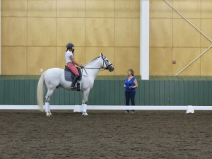 Michelle Hirshberg worked with her Lusitano stallion on creating a consistent tempo which matched the music.  Gallo discussed how the type of music used could help to create greater consistency and more jump in the canter, elevating its quality.
