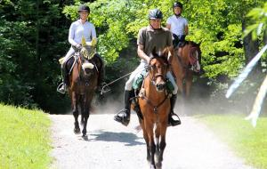 Lee completes her first two day 50 mile ride at GMHA, with her friends Roxie (middle, ridden by Denny Emerson) and Camille (ridden by Robin Malkasian).